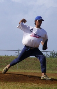 Samoa pitcher Lio Tuala starts the second game of Samoa double header