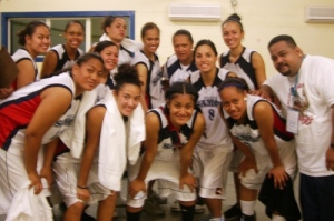 The smiling Pago girls after winning their second game