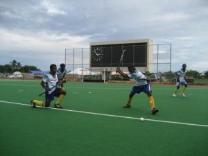 Vanuatu XI practicing a short corner play