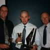 <i>Mitchell Harris (centre) with his awards at the BRL Referees' Association Annual Awards<br>Presentation Dinner</i>