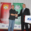 BUSC President Steve Clancy recieves HSA Club Championship Trophy from Ian Campbell