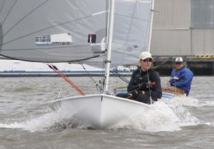 Perin Hardie and Steve Dunn on their way downwind