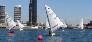 Close tactical downwind racing in the 2008 OK Short Course Regatta