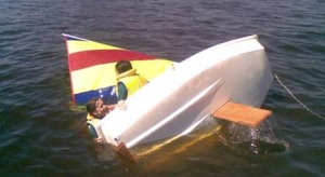 Capsize drill in Optimist dinghies at Docklands Yacht Club