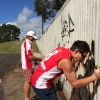 Phil and Jesh working hard on clean up graffiti day at the Lismore Levy