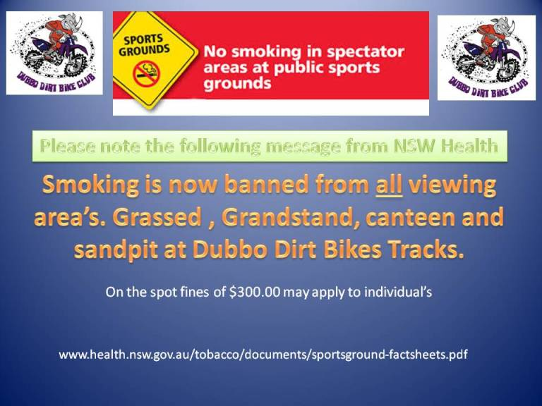 No Smoking In Spectator Areas At Motocross Dubbo Dirt Bike Club