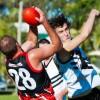 Sawtell/Toormina key forward Aaron Clarke marks strongly against Port Macquarie. Photo: Rob Wright/Coffs Coast Advocate