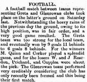 Was this the first official Glenrowan FC team ?