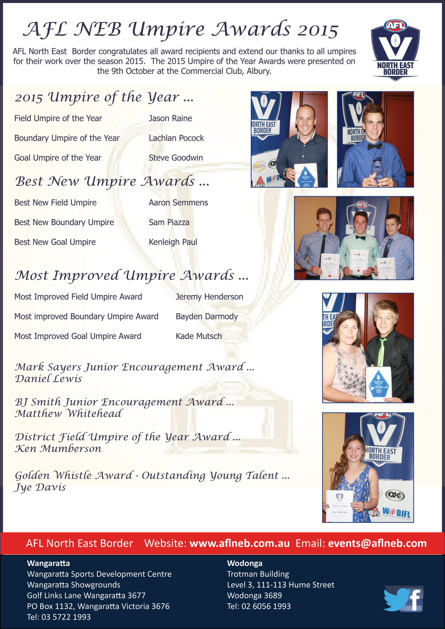 afl north east border congratulates all award recipients and extend our thanks to all umpires for their work over the season 2015