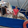 Jacquie Hope aboard Shanti at QCYC