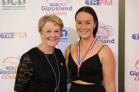 Karen Proctor Medal C grade best and fairest Sarah Edey (Maffra) (right)