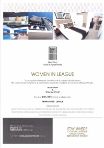 Alex Perry Hotel & Apartments' Women in League offer