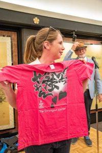 Jo Breen sports her Strongest Woman t-shirt MIOC 2018_Osaka Media